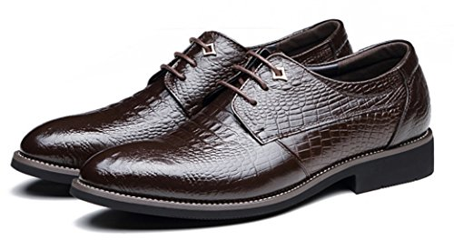 DADAWEN Homme Mode Ecaille Ligne British Style Leather Chaussure Brun