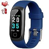 Hswt Traqueur de Fitness Bracelet Intelligent avec fréquence Cardiaque/tensiomètre/étanche IP67 / avec Moniteur de Sommeil/Enfant, Dame, Hommes Dispositif de pistage,Blue