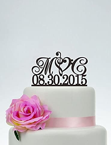 Wedding Cake Topper,Initials Cake Topper With Date,Custom Cake Topper,Music Note Cake Topper,Personalized Cake Topper