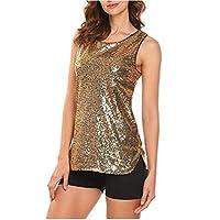 CRYYU Women Sequins Slim Fit Sleeveless Sexy T-Shirt Blouse Tank Top Golden M