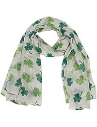 d4ac537297a7 LianMengMVP Le Jour De La Saint-Patrick Echarpe Femme Irlandaise Verte  ChâLe TrèFle à Quatre Feuilles Foulards…