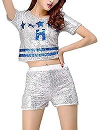 1313b5a5b8551 Gtagain Lentejuelas Danza Ropa Mujeres - Mujeres Moderno Jazz Baile Disfraces  Hip Hop Tops Pantalones Cortos Trajes Salón de Baile…
