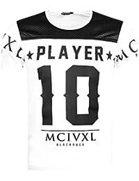 Jeel/BlackRock -T-shirt Homme imprimé tendance - player numéro 10 - bimatière matelassé brillant et zip