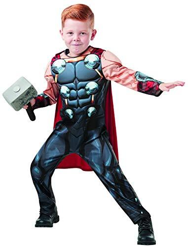 Fancy Ole - Jungen Boy Kinder Thor Deluxe Kostüm aus Avengers Assemble mit Muskelpolster Einteiler, Umhang, Manschetten und Hammer perfekt für Karneval, Fasching und Fastnacht, 128-140, Grau