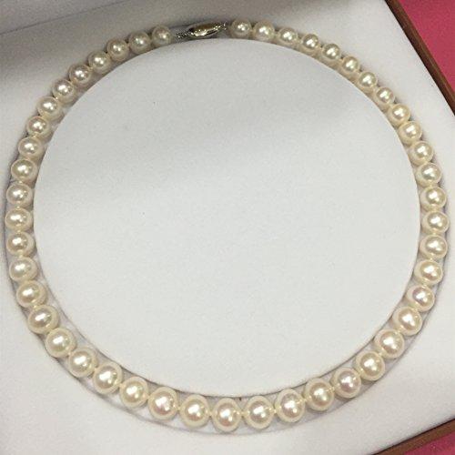 Meilinatural Collier de perles rond Parfait Paillettes très piqué Collier de perles d'eau douce blanc