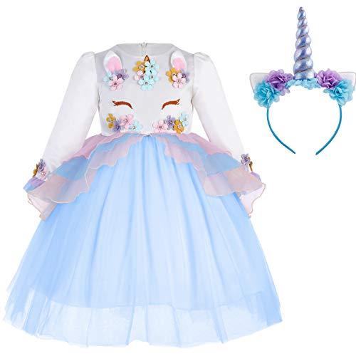 Einhorn Kostüm Kinder Blau - IWEMEK Mädchen Einhorn Prinzessin Geburtstag Langarm