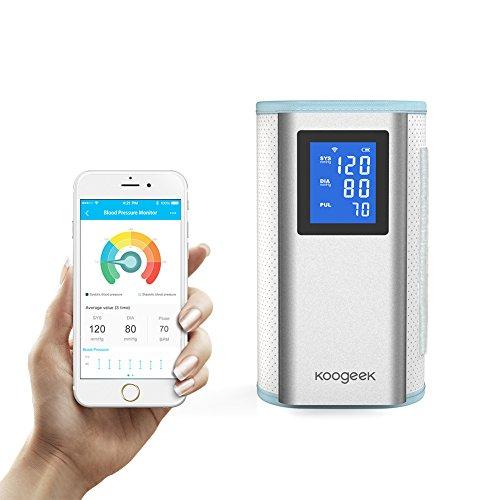 Koogeek-Misuratore-di-Pressione-Elettronico-Braccio-Superiore-Approvato-dalla-FDA-con-Rilevazione-della-Frequenza-Cardiaca-Apple-Android-Compatibile