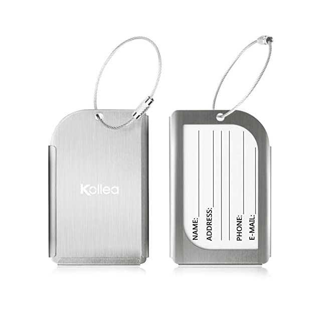 Luggage Tag, Kollea [ 2 Pack ] Aluminium Voyage ID Card Tag Business Support Suitcase Étiquette pour bagages, Sac, Valise