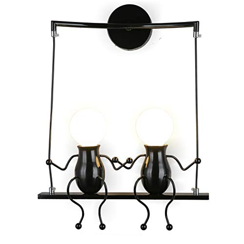 Wandleuchte Metall Wandlampe E27 Effektlampe Flurlampe Treppenleuchte Nachttischlampe Cartoon Lampe für Kinderzimmer Wohnzimmer Schlafzimmer Studiezimmer FlurHotels (Schwarz, 41 x 27 x 15 cm)