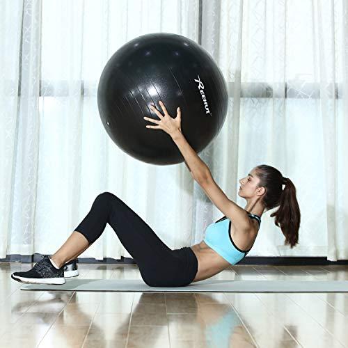 REEHUT Pelota de Ejercicio Anti-Burst para Yoga, Equilibrio, Fitness, Entrenamiento, incluidos Bomba y Manual de Usuario - Azul 55cm