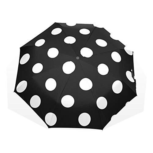 GUKENQ - Paraguas de Viaje, diseño de Lunares, Color Blanco y Negro, Ligero y antirayos UV, para Hombres, Mujeres y niños, Paraguas Plegable y Resistente al Viento