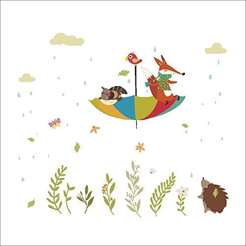 2ad74e3caa8c Pegatinas de pared Habitación de los niños de fondo decoración de la pared  pegatinas-cartoon fox hedgehog umbrella fondo de decoración de la pared ...