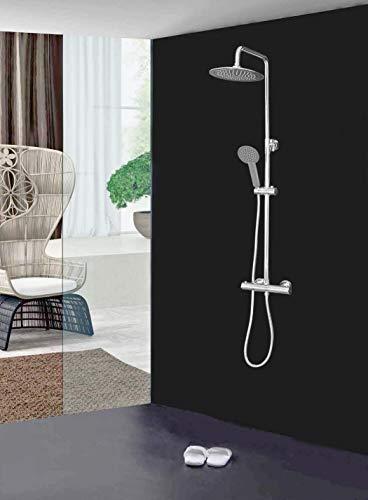 Elbe Duschsystem mit Thermostat, Duschsäule mit ⌀25 cm Rund Überkopfdusche, Duschset aus Edelstahl 304+Messing mit entspannter Regenwirkung, 75-119 cm verstellbare Duschstange