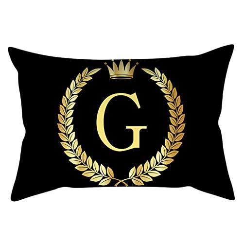 EcLife Kissenbezug, 30 x 50 cm, rechteckig, für Sofa, Zuhause, dekorativ, glitzernd, Schwarz/Gold, Alphabet, Buchstabenkronen-Print, Polyester Pfirsich-Samt g