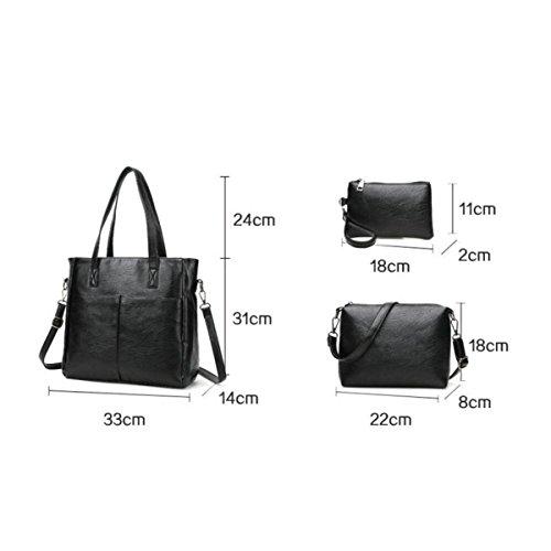 Mode Öl Streifen Muster Sub-Paket Dreiteilig Damen Handtaschen Umhängetasche Clutch Bag Champagne