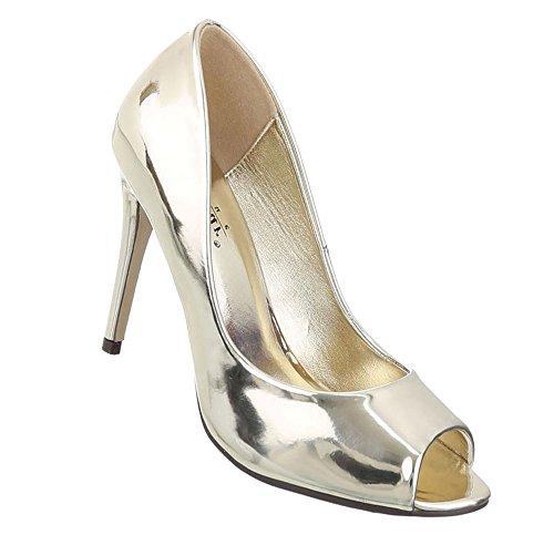 Damen Schuhe Pumps Peep Toe High Heels Gold 37