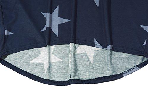 Yidarton Tunique Femme Longue à Manche Chauve Souris Grande Taille Casual Top Tee Shirt Blouse Long Bleu Marine