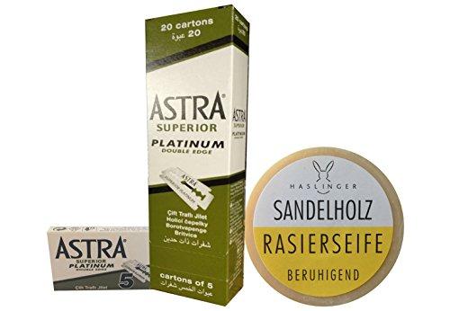 100 Astra Superior Platinum Rasierklingen & Haslinger Sandelholz Rasierseife (60 Gramm)