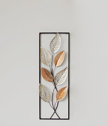 New All American Collection Blumen und Blätter Aluminium/Metall Wand Dekor mit Rahmen 30,5 x 91,4 cm, Aluminium, Orange Leaves, 12