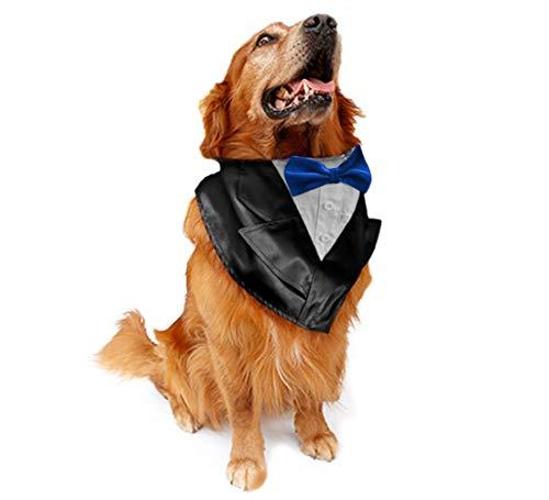 NANELER Hunde-Hochzeits-Smoking Fliege Halstuch, Halstuch, mit verstellbarem Kragen, für Partys und Halloween, One Size, Blue 1