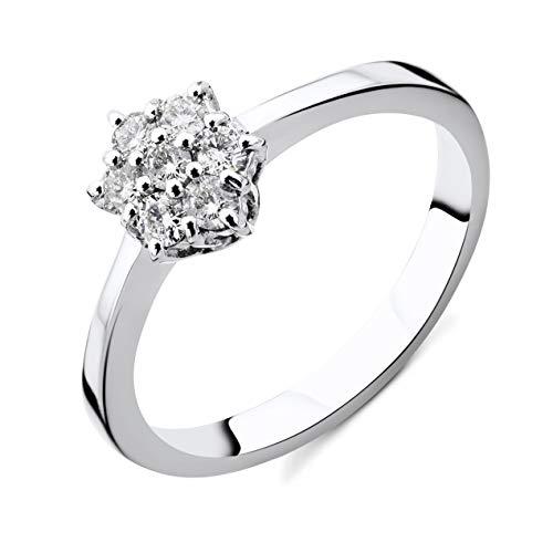 Orovi Damen Diamant Ring Weißgold, Verlobungsring 18 Karat (750) Gold und Diamanten Brillanten 0.21 Ct Ring Handgemacht in Italien (Weißgold Ring Diamant Damen)