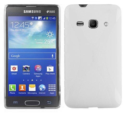 Preisvergleich Produktbild Cadorabo Hülle kompatibel mit Samsung Galaxy ACE 3 Hülle in HALB TRANSPARENT Handyhülle aus flexiblem TPU Silikon im X-Line Silikon Schutzhülle
