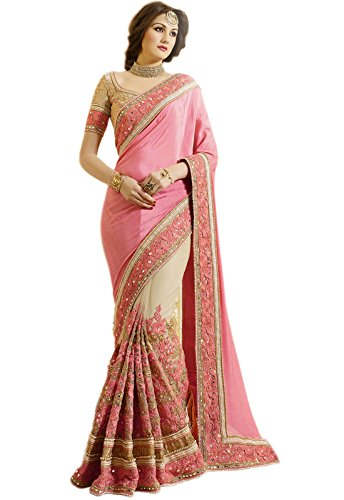 Palash fashion\'s Royal Looking Pink and Beige Color Satin Chiffon and Net Fancy Designer Saree