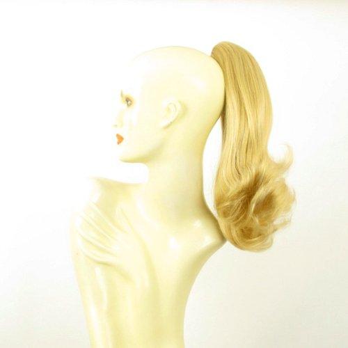 Postiche queue de cheval extension femme mi-longue 40 cm blond clair doré ref 8 en lg26
