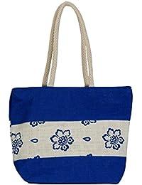 SKJ Women's Jute Handbag Blue And White SKJ5