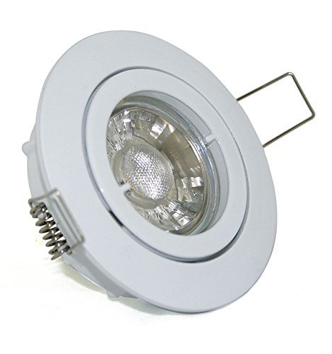 7er Set Decken Einbauleuchten Einbauspot Downlight Max Farbe: Weiss Schwenkbar inkl. GU10 5W Power Glas COB Led entspricht 50 Watt Lichtfarbe: WARMWEISS
