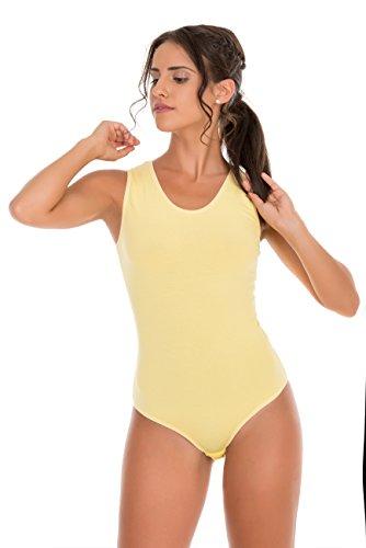 Evoni Damenbody | verschiedene Farben&Größen | Damen Overall Bodysuit mit Rundhals | breite Träger | Verschluß-Haken | Unterzieh-Body mit optimaler Passform | sportlicher Damen-Body (M, gelb) (Sportliche Haken)