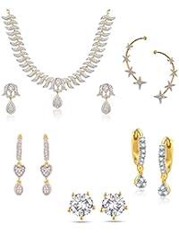 Zeneme Combo American Diamond Necklace Set, Earcuff & Designer Earrings Set