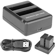 Donkeyphone - CARGADOR DOBLE DUAL EXTERNO CON USB PARA BATERIA ORIGINAL O DE RESPUESTO AHDBT-401 COMPATIBLE CON GOPRO HERO 4 BLACK / SILVER