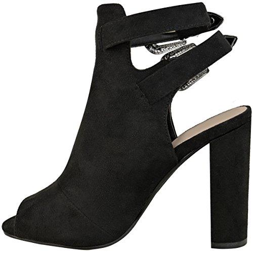 DONNA WESTERN BLOCCO sandali tacco alto stivali caviglia donna cowboy party SCARPE Nera Pelle Scamosciata