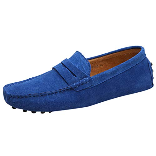ASHOP Walkingschuhe,Sommer Herren Casual Erbsen Schuhe Wild Wildleder Set Fuß Faul EIN Casual Bequeme Rutschfeste Schuhe Business Schuhe