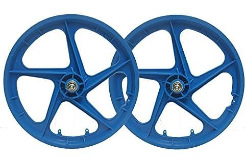 Paire 50,8cm BMX Roues Bleu rétro Freestyle Aero 5rayons avant et arrière Vélo BMX Roues