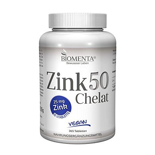 BIOMENTA ZINK 50 mg | AKTIONSPREIS!!! | Zink Bisglycinat | 365 VEGANE Zink-Tabletten | 25 mg Zink je ½ Tablette | Zink HOCHDOSIERT