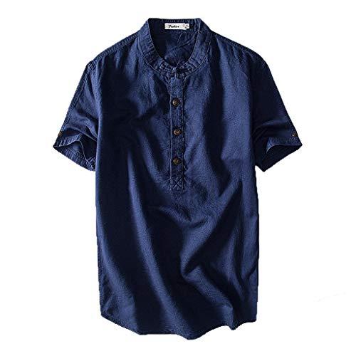 Beikoard Herren Freizeithemd Kurzarm Top Button Baumwolle Leinen einfarbig lose Bluse Regular Fit Oberteile Henley Sommer Hemd M-4XL (Marine, 2XL)