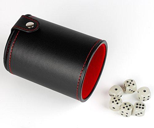 Leder-Wrfel-Becher-Shaker-mit-Deckel-hellgrn-5-Wrfel-Set-fr-die-Meisten-Wrfelspiele Leder Würfel Becher Shaker mit Deckel, Weiß 6 Würfel Set für die Meisten Würfelspiele (1 Packung) -