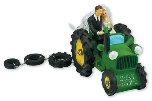 Club Green Resin Bride and Groom in Tractor, Green, 140 x 90 x 110 mm