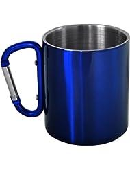 Doppelwandige Edelstahl Tasse 330 ml mit Karabinerhaken