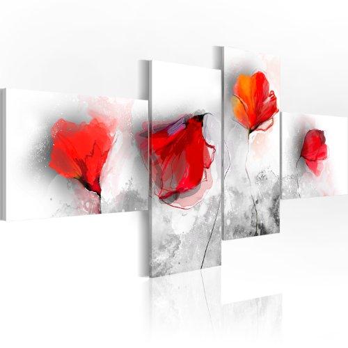 Quadro 200x90 cm - 4 Parti - Quadro su tela fliselina - Stampa in qualita fotografica- fiori Quadro 0107-17 200x90 cm B&D XXL