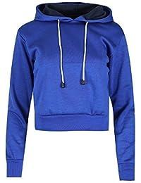 Oops Outlet Women`s Long Sleeve Cropped Top Ladies Pullover Plain Fleece Sweatshirt Hoody