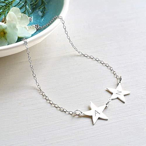 Collar Personalizado Plata Esterlina Inicial con Estrellas Dobles, collar de estrella, collar de estrella personalizado, collar de inicial, joyas celestes, regalo de cumpleaños, regalo de San Valentín