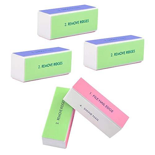 gobesty Nagelpolierblock, 5 Stück Polierblock Buffer Nagelpolierblock Nagelblock mit 4 Feil- und Polierflächen für Maniküre