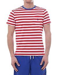 476372cb01e7 Ralph Lauren Mod. 710740871 T-Shirt Girocollo Taschino Righe Uomo Cruise  Red White
