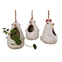 VanEnjoy Cute Cartoon Hanging Ceramic Succulent Planters Chicken Family,Matte Pottery Bonsai Cactus Flower Pot,Air Plant Vase Holder for Indoor and Outdoor Decorative-Set of 3