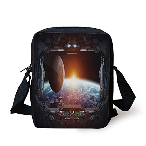 Celestial Home Decor (War Home Decor,Window View from Spaceship Station to Universe Celestial Discovery Fiction,Grey Black Print Kids Crossbody Messenger Bag Purse)
