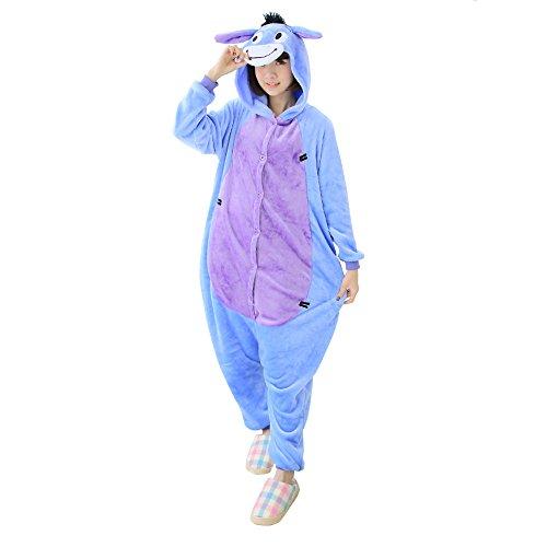 OCHENTA Damen Kostüm Schlafanzug Nachtwäsche Cosplay Tier Pyjama Karneval Halloween mit Kapuze festival Esel M(Körpergröße 156-164cm) (Esel Halloween-kostüm)