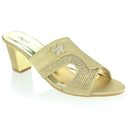 Party Frau Abend Diamant Gold Damen Sandalen Lässig Blockabsatz Schlüpfen Schuhe Detail Brosche Größe Hochzeit wcap4fqxaT